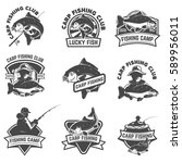 set of carp fishing labels... | Shutterstock .eps vector #589956011