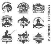 Set Of Carp Fishing Labels...