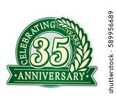 35 years anniversary logo... | Shutterstock .eps vector #589956689