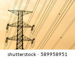 silhouette of high voltage... | Shutterstock . vector #589958951