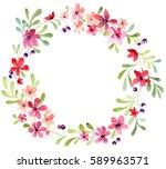 wreath of flowers | Shutterstock . vector #589963571