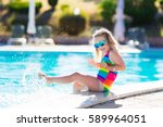 little girl playing in outdoor... | Shutterstock . vector #589964051