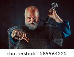powerful bearded knight with... | Shutterstock . vector #589964225