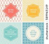 set of vintage frames in red ...   Shutterstock .eps vector #589965149