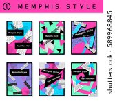 set of vibrant 80's banners ... | Shutterstock .eps vector #589968845