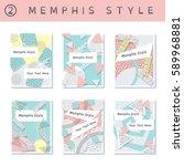 set of  pastel 80's banners ... | Shutterstock .eps vector #589968881