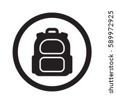 flat black backpack web icon in ... | Shutterstock . vector #589972925