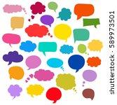 set of bubbles speech  hand... | Shutterstock .eps vector #589973501