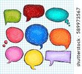 set of bubbles speech  hand... | Shutterstock .eps vector #589973567
