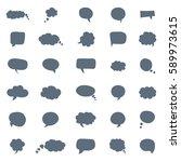 set of bubbles speech  hand... | Shutterstock .eps vector #589973615