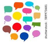set of bubbles speech  hand... | Shutterstock .eps vector #589973681