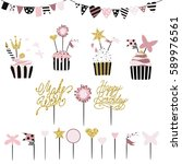 celebratory cakes with set of... | Shutterstock .eps vector #589976561