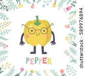 cute cartoon pepper... | Shutterstock .eps vector #589976894
