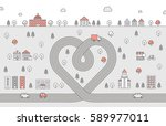 road heart and city red and... | Shutterstock .eps vector #589977011