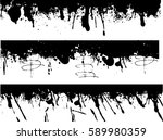 grunge edges vector set .... | Shutterstock .eps vector #589980359