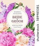 vintage wedding invitation | Shutterstock .eps vector #589985381
