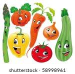 vegetable family. funny cartoon ...