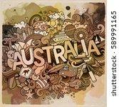 australia country hand... | Shutterstock .eps vector #589991165