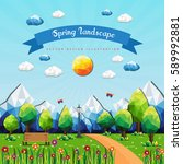 spring landscape background... | Shutterstock .eps vector #589992881