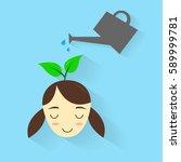 watering plant on girl head... | Shutterstock .eps vector #589999781