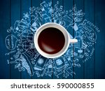 morning coffee doodle concept... | Shutterstock .eps vector #590000855
