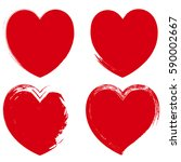 red grunge heart shapes set | Shutterstock .eps vector #590002667