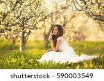 portrait of the bride in ivory... | Shutterstock . vector #590003549
