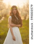 portrait of the bride in ivory... | Shutterstock . vector #590003579