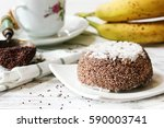 Small photo of Ragi Puttu - Kerala Breakfast using finger millet and grated coconut, selective focus