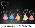 colorful paper dresses lying on ... | Shutterstock . vector #590004224