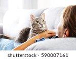 beautiful grey cat on female... | Shutterstock . vector #590007161