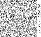 cartoon cute doodles hand drawn ... | Shutterstock .eps vector #590011901