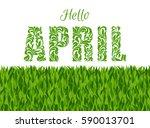 hello april. decorative font... | Shutterstock .eps vector #590013701