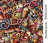 cartoon hand drawn ice cream... | Shutterstock .eps vector #590015249