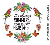 watercolor summer frame for... | Shutterstock . vector #590023361