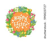 happy easter card with flower... | Shutterstock .eps vector #590023727