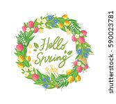 flower wreath with hand drawn...   Shutterstock .eps vector #590023781