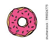 donut icon for cafes ... | Shutterstock .eps vector #590026775