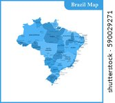 the detailed map of brazil with ... | Shutterstock .eps vector #590029271