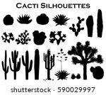 Black Silhouettes Of Cacti ...