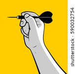 hand throwing dart | Shutterstock .eps vector #590032754