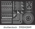 set of floral hand drawn border | Shutterstock . vector #590042849