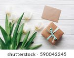 stylish craft present box and... | Shutterstock . vector #590043245