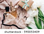 stylish craft present box and... | Shutterstock . vector #590053409