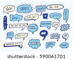 cute speech bubble doodle... | Shutterstock . vector #590061701