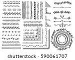 set of border  brush  frame ... | Shutterstock . vector #590061707