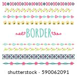 set of decorative hand drawn... | Shutterstock . vector #590062091