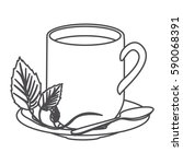 grayscale contour of hot mug of ... | Shutterstock .eps vector #590068391