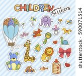set of funny doodle stickers... | Shutterstock .eps vector #590071514
