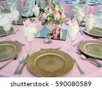 pink table with wedding gold... | Shutterstock . vector #590080589